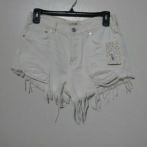 White distressed free people shorts